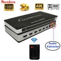 Full HD 4 K 2 K 3D 1080 P HDMI matriz 4X2 interruptor divisor convertidor adaptador con control remoto control Digital toslink audio + L/R Extractor