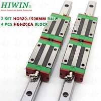 HIWIN guía lineal 2 sets HGR20-1500mm HIWIN carril lineal con 4 piezas HGH20CA cojinete de bloque de carruajes para CNC kits