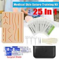 25 en 1 Kit de formation chirurgicale de Suture de peau médicale Silicone Pad aiguille ciseaux Silicone + acier inoxydable doux facile à utiliser