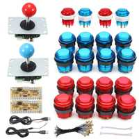 DIY Joystick Arcade Kits 2 jugadores con 20 LED Arcade botones + 2 Joysticks + 2 USB Kit de codificador + cables juego de Arcade Juego de piezas de