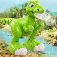 Control remoto dinosaurio caminando pulverización bailando perro respira y Robot de juguete verde