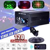 120 patrones láser proyector discoteca DJ luz etapa del Partido de la luz de la lámpara RGB al aire libre jardín decoración remoto/Sonido de control