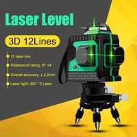 3D 12 líneas verde láser autonivelante 360 Horizontal y Vertical Super potente láser verde de haz de línea