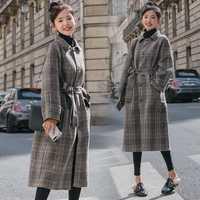 Elegante concisa comprobado solapa abrigos cintura Capote lana mantas y tejidos de lana suelta abrigo invierno mujer básica abrigo de lana