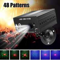 48 patrón Proyector láser control remoto/sonido activado LED discoteca luz RGB DJ etapa del Partido de la luz de la decoración de Navidad de la lámpara Reino Unido /US/EU