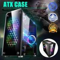 LEORY Mini ATX boîtier d'ordinateur de jeu tours panneau de verre ordinateur de bureau Mainframe châssis Transparent intégral