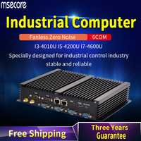 MSECORE 4TH Gen I3 i5 i7 sin ventilador Mini PC Windows 10 ordenador industrial linux Nettop barebone 6COM 2 * LAN 8 * USB HTPC 300M WiFi