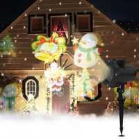 12 patrones Feliz Navidad las luces al aire libre de las luces Led de copo de Nieve Luz de proyector lámpara de césped Ip65 impermeable láser decoración de Halloween