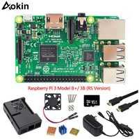 Aokin 7 piezas Kit combinado de Raspberry Pi 3 modelo B, modelo B +/3b placa base tarjeta Microsd de 16 gb, 5 V 2.5A adaptador disipadores de calor negro caso de Cable Hdmi