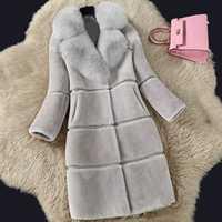 De Lujo Faux del invierno abrigo de piel las mujeres larga gruesa chaqueta 2019 de las mujeres de la moda falso cuello de piel de zorro ropa mujer cálida chaqueta de abrigo de piel