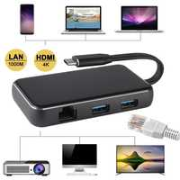 Tipo C a 4 K HDMI TV adaptador de vídeo VGA RJ45 Lan Gigabit Ethernet Cable de la tarjeta USB 3,0 para Macbook samsung S8 S9 para Huawei P20 Pro