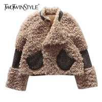 TWOTWINSTYLE de imitación de piel de cordero Abrigos Mujer manga larga solapa manga larga Patchwork de bolsillos para mujer abrigo de invierno de 2018 de moda