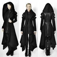 Irregular negro Abrigo con capucha de las mujeres Otoño Invierno Punk rock gótico Cosplay Steampunk medieval parte abrigos chaqueta de las señoras tops