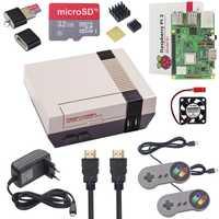Nuevo NESPi +, Raspberry Pi 3 modelo B, modelo B + Bluetooth + 32 GB tarjeta SD + 3A adaptador de corriente + disipador de calor + 2 Gamepad controlador para Retropie