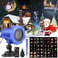 12 patrones LED Navidad láser copo de nieve proyector impermeable IP65 exterior jardín proyector discoteca luces de Navidad CF577