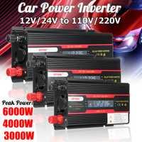 Inversor del coche 12V 220V 3000W 4000W 6000W P eak inversor de corriente transformador de voltaje 12V 220V Inversor + pantalla LCD