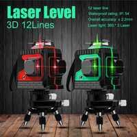 2019 nuevo 3D 12 líneas verde láser autonivelante 360 Horizontal y Vertical Super potente láser verde haz de línea