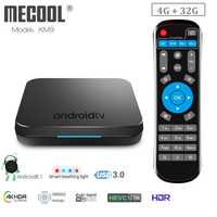 MECOOL KM9 caja de TV inteligente Android 8,1 Amlogic S905X2 4 GB LPDDR4 32 GB EMMC ROM Bluetooth 4,2 a 100 M set Top Box 4 K Media Player