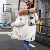 Abrigo de invierno 2018 nueva mujer chaquetas de invierno de longitud media espesar Delgado moda de impresión con capucha grande Collar de Piel de mujer Parkas S282