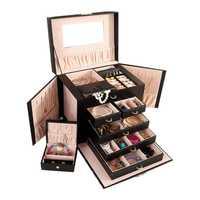 Boîte de rangement de bijoux de grande capacité 5 couches en cuir multifonctionnel cosmétiques femmes bijoux anneau collier boucle d'oreille boîte de rangement