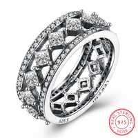 Anillo de diamante de plata de ley de moda Real pareja Bizuteria anillos de bague etoile compromiso boda anillos grandes para mujeres