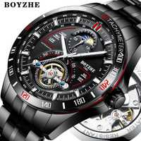 BOYZHE hommes automatique mécanique haut tendance marque Sport montres Tourbillon Phase de lune montre en acier inoxydable relogio masculino