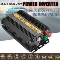 Onduleur 12 V 220 V 6000 W pics Auto modifié onde sinusoïdale transformateur de tension convertisseur de puissance voiture Charge USB 3000 W