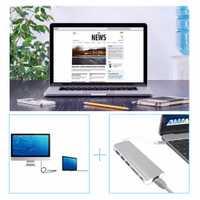 Tipo C HUB USB-C multipuerto a HDMI 4 K con 2-Puerto USB3.0 USB-C a Gigabit Ethernet Adaptador SD lector de tarjetas para MacBook Chromebook