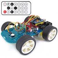 De alta tecnología programable Robot coche de juguete 4WD IR inalámbrico de Control remoto inteligente Kit de coche con el Tutorial para Arduino para R3 nano