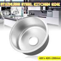 Xueqin redondo de acero inoxidable tipo profundo cocina cuenca bajo/Topmount ropa de baño único tazón redondo lavabo 420 x 420x200mm