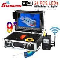 SYANSPAN 9 ''WiFi inalámbrico buscador de los pescados de vídeo cámara para Android/IOS IP68 HD 1000TVL bajo el agua pesca en el hielo de la cámara 24 LED blanco
