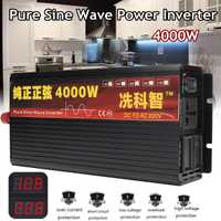 Inversor 12 V 220 V 2000/3000/4000 W transformador de voltaje inversor de potencia de onda sinusoidal pura DC12V a AC 220 V convertidor + 2 pantalla LED