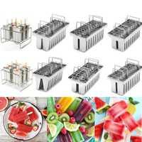 20 piezas/lote comercial molde para congelador hielo Pop molde Popsicle Durable Acero inoxidable helado molde Lolly con 20 piezas palo titular