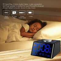 Radio despertador LED Digital termómetro de carga Dual USB Dimmer función brillo ajustar reloj de alarma para el dormitorio