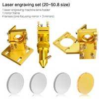 Conjunto de cabezal láser CO2 lente de montaje de espejo y espejo para máquina cortadora de grabado láser K40 2030