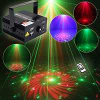 Nueva llegada voz Control RGB LED efecto de iluminación de escenario 40 patrones láser LED lámpara de la etapa para fiesta Disco Club DJ KTV Luz