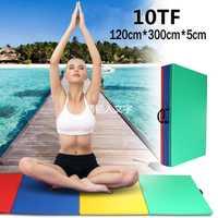 Tapis de gymnastique de 10FT tapis de sol de chute pliant quatre panneau culbutant le gymnase de Yoga 300*120*5 cm tapis de Yoga pour le Test d'éducation physique