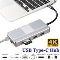 Pantalla de vídeo de aleación de aluminio 8 en 1 Tipo C a USB 3,0 PD 3,0 carga 4 K gigabit RJ45 SD TF con soporte de teléfono