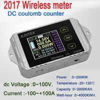 Monitor de batería DC 100 V 100A inalámbrico de temperatura amperímetro de KWh vatios medidor de coulometer capacidad probador de potencia del coche 12 V 24 V