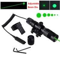 Táctico verde 5 mW láser ajustable indicador caza Picatinny Rifle láser 20mm alcance montaje anillo + control remoto interruptor