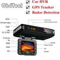ObdTooL 3 en 1 coche DVR Anti Radar Detector completa bandas Cámara GPS rastreador G-sensor Cámara Dual Loop grabación de Dash Cam