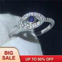 Clásico de la forma de ojo anillo de dedo 100% sólido de la joyería de la plata esterlina 925 AAAAA Zircon cz compromiso boda banda anillos para las mujeres