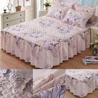 3 unids/set almohada tamaño reina Chandler cama falda de invierno estampado Floral acolchado engrosada colcha cama falda equipada hoja