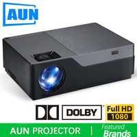AUN Full HD proyector 1920x1080 resolución 300 pulgadas de pantalla grande teatro apoyo AC3. ¡5500 lúmenes! (Opcional Android WIFI)