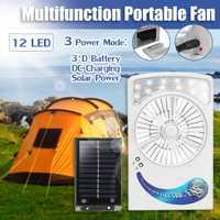 Ventilador de iluminación recargable de energía Solar/Ca 2 en 1 sistema 6 V 1,2 W Panel Solar 12 luz LED fuerte ventilador de viento para acampar al aire libre