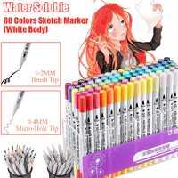 STA 80 colores blanco Soluble en agua arte marcadores artista doble cabeza dibujo marcador cepillo pluma pincel para diseño de dibujo de arte en la escuela suministros
