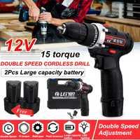 12 V dos velocidad mini destornillador diy recargable de la batería de litio destornillador eléctrico taladro de mano de madera conductor armas de herramienta de poder