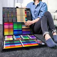 258 pièces professionnel peinture dessin stylo Art ensemble esquisse couleur crayon Pastel gomme peinture boîte cadeau d'anniversaire