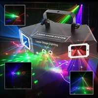 Láser etapa luz DMX 4 Len rojo verde azul DJ efecto de iluminación de escenario para la fiesta, Club Bar baile láser iluminación