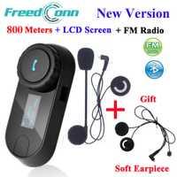 FreedConn TCOM-SC Bluetooth Moto Interphone Casque Casque Intercom LCD Écran avec FM Radio + Soft Écouteur